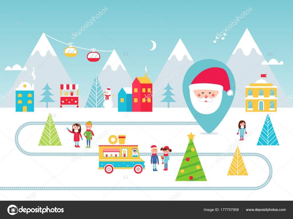 クリスマスの休日の公園屋台の食べ物や冬のアクティビティ図ベクター