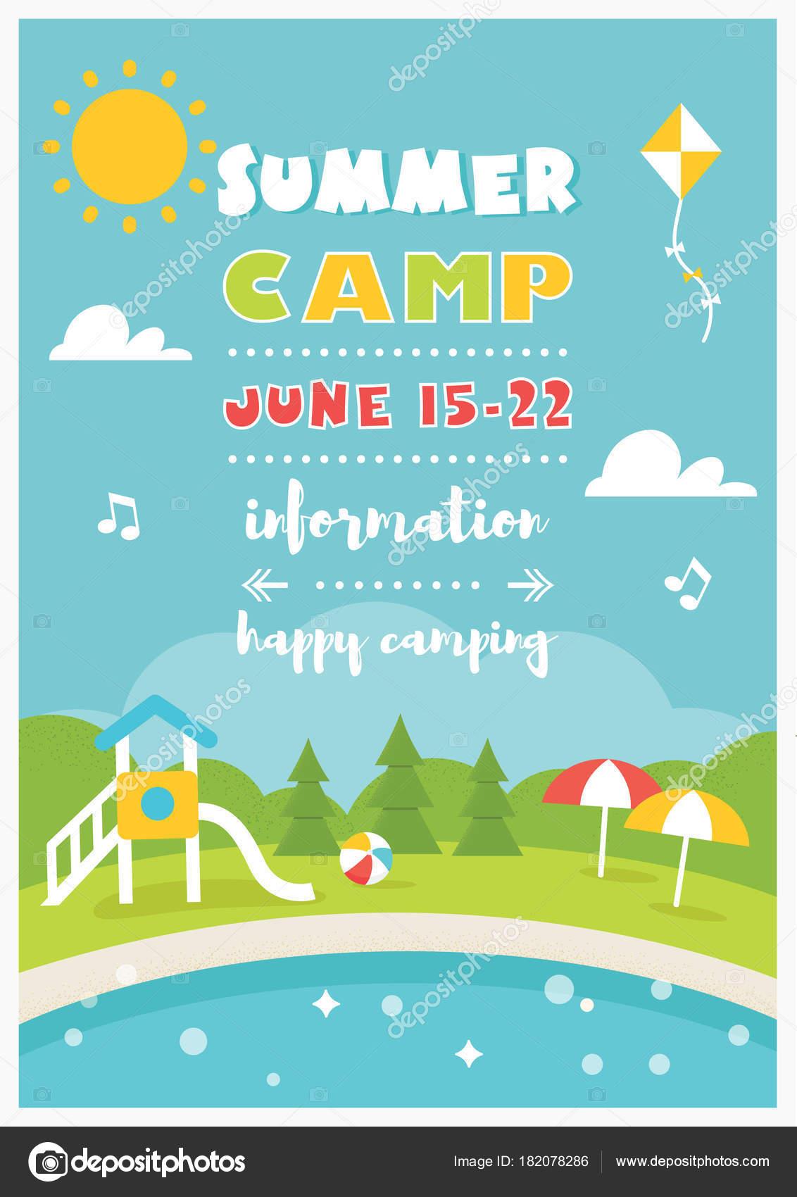 Campamento de la playa o Club para niños. Plantilla de Vector ...