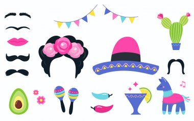 Mexican Fiesta Party Elements and Photo Booth Props Set. Vector Design