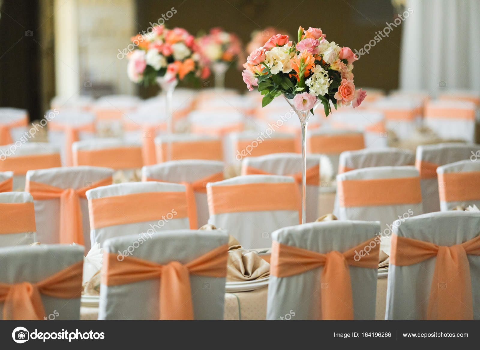 Wedding decoration in peach color stock photo yrfyonova beautiful wedding decorations in peach color with fresh flowers photo by yrfyonovayandex junglespirit Gallery