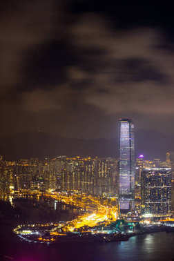 Hong Kong skyline cityscape, modern skyscraper building, view from the Peak at twilight dusk