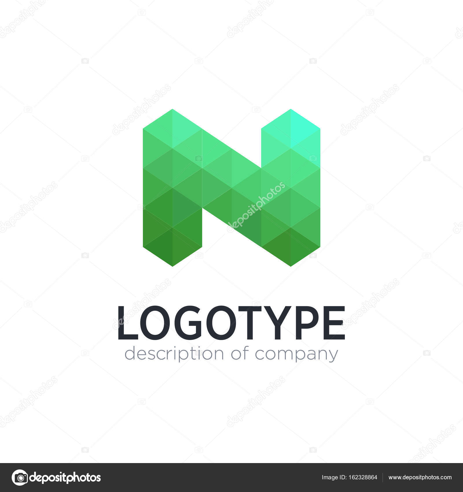 abstract trend polygon letter n logo design template stock vector