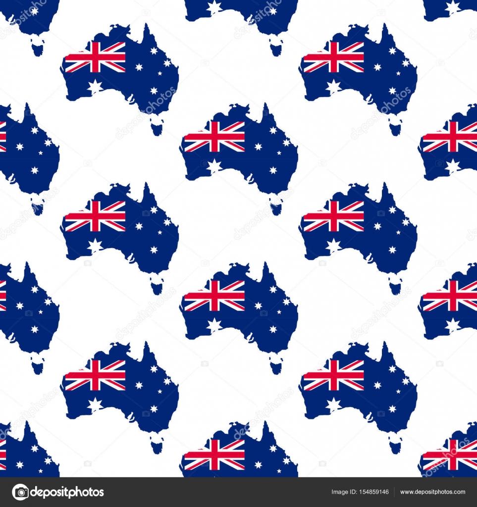 Patrón de mapa y bandera de Australia — Archivo Imágenes Vectoriales ...