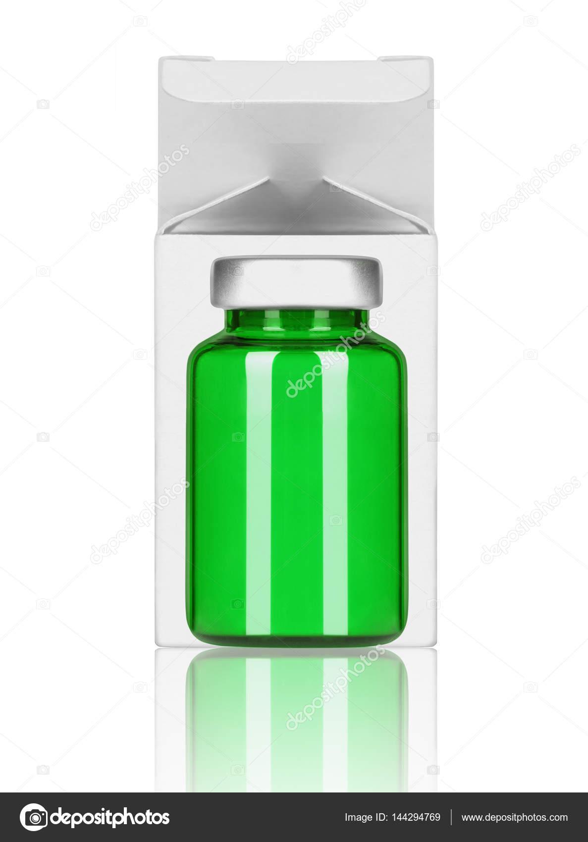 Medizinische Flasche mit Pappschachtel auf weißem Hintergrund ...