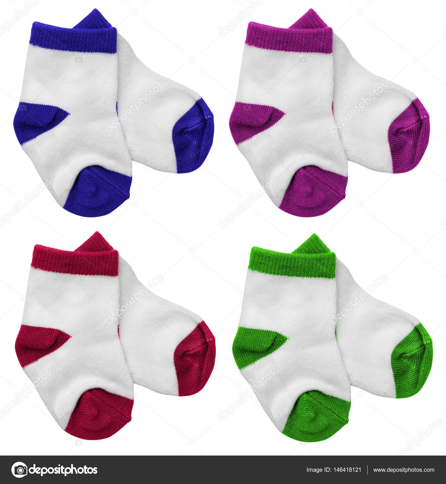 Πολύχρωμες Παιδικές κάλτσες απομονωθεί σε λευκό φόντο — Φωτογραφία Αρχείου b0877a848ba