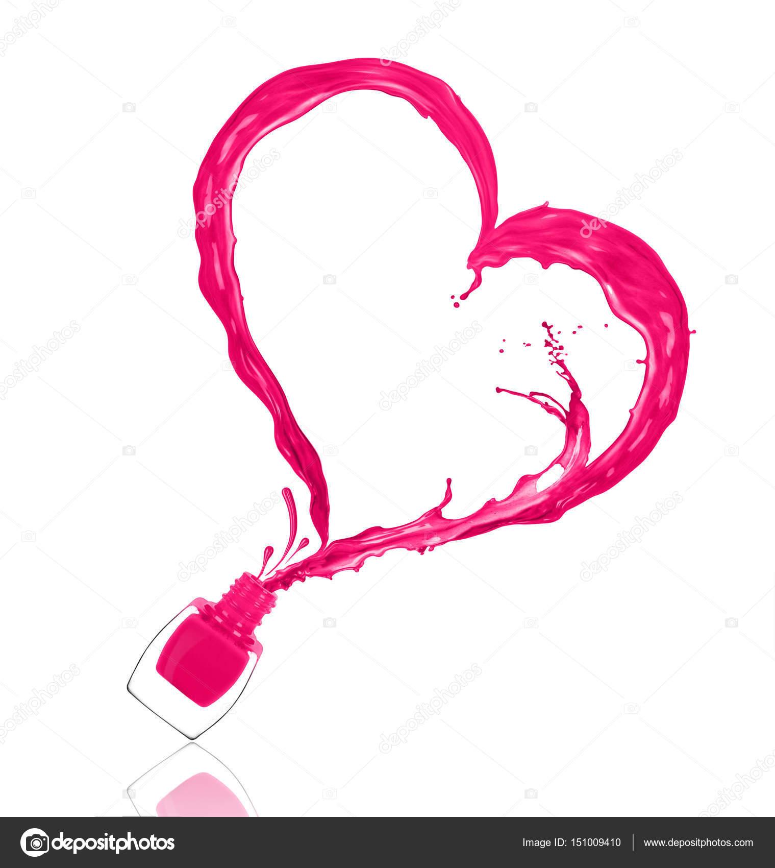 Spritzen der Nagellack in der Form eines Herzens, gegossen aus dem b ...