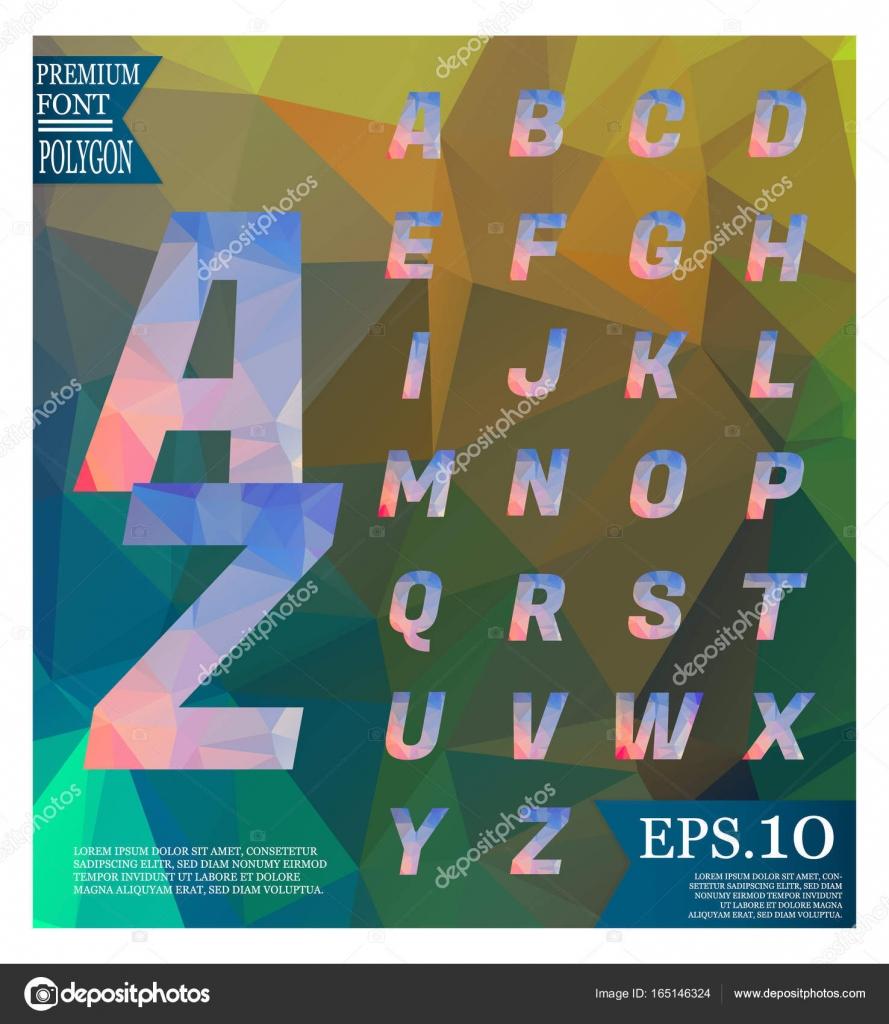 Alfabeto poligonal, facetas mayúsculas en backgrou Resumen ...