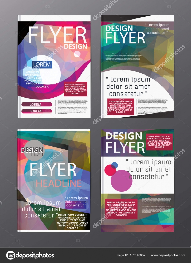 polygon modern brochure layout design templateflyer leaflet cov stock vector