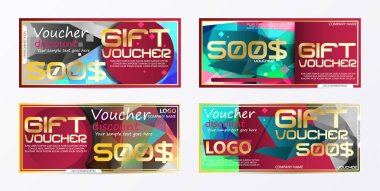 Gift voucher gold template colors certificate. Background design