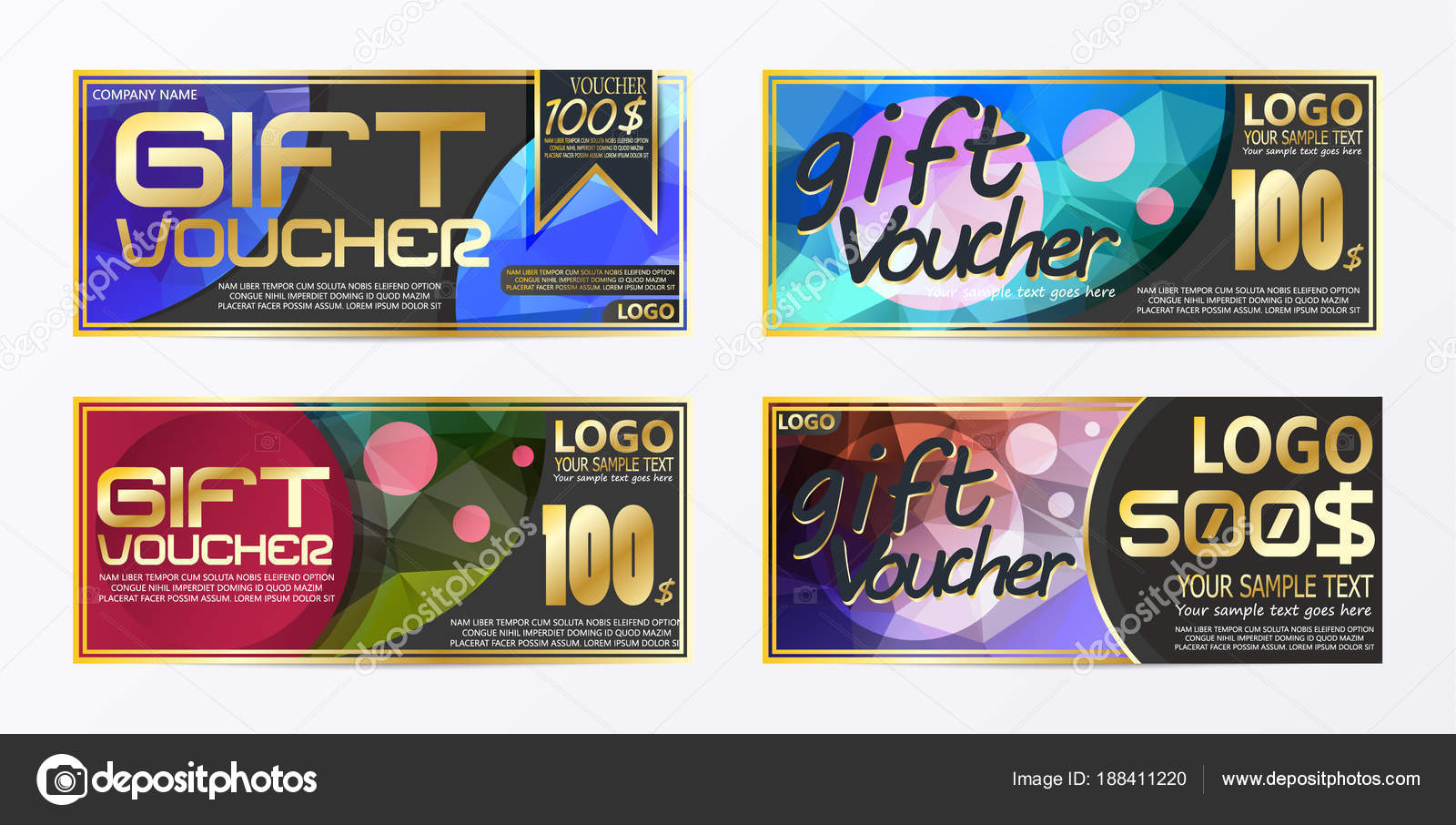 Gift certificate voucher coupon card background template — Stock ...