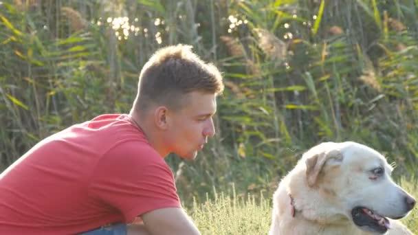 junger Mann streichelt, umarmt und küsst seinen Labrador in der Natur. Spiel mit dem Golden Retriever. Hund leckt männliches Gesicht. Liebe und Freundschaft mit Haustieren. Landschaft im Hintergrund. Nahaufnahme