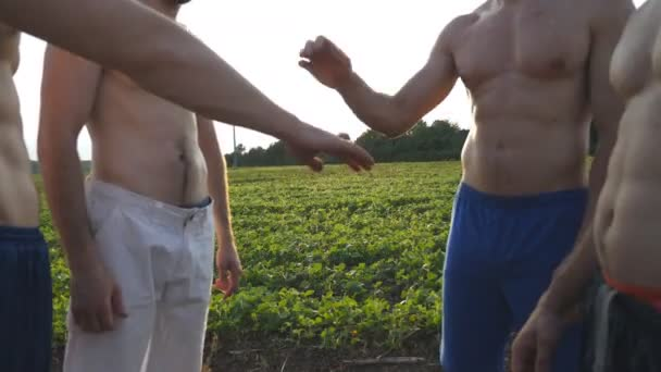 Many male hands getting together. Team of athletes putting arms together outdoor. Group of people joining hands together outside. Friends forming arms stack at nature. Teamwork Close up