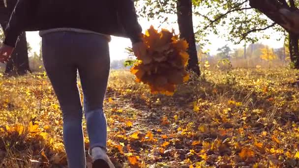Young woman running through autumn park with bouquet of yellow maple leaves in her hand. Girl having fun in beautiful colorful autumnal forest with fallen foliage. Sun shine at background. Slow motion