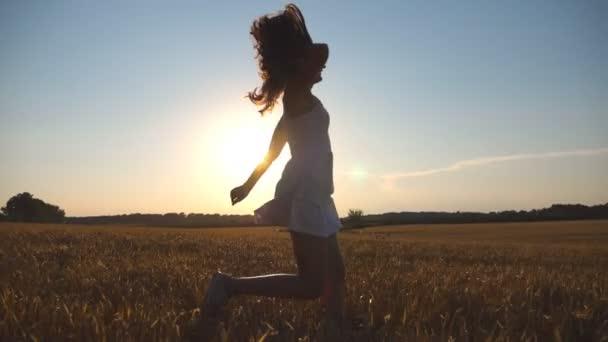 8df3ab6c921ad8 Junges Mädchen läuft entlang Weizenfeld unter blauem Himmel bei  Sonnenuntergang. Frau ist auf der Wiese Joggen. Sonne im Hintergrund.