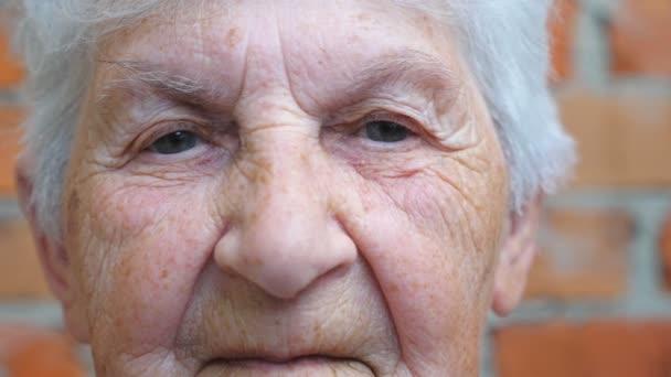 Porträt einer älteren Frau mit grauen Haaren, die in die Kamera blickt. Detailansicht des faltigen weiblichen Gesichts mit ernstem, nachdenklichem Blick. Trauer Gesichtsausdruck der Oma. Zeitlupe aus nächster Nähe