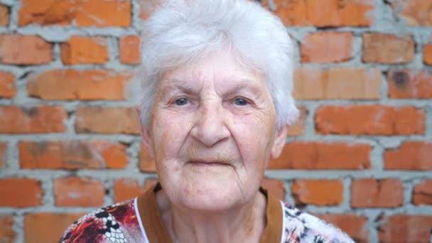 junger Mann und erwachsene Frau küssen ihre geliebte Großmutter auf die Wangen. Porträt einer glücklichen Oma, die lächelt und in die Kamera blickt. herzliche familiäre Beziehungen. Konzept der Liebe oder Fürsorge. Zeitlupe