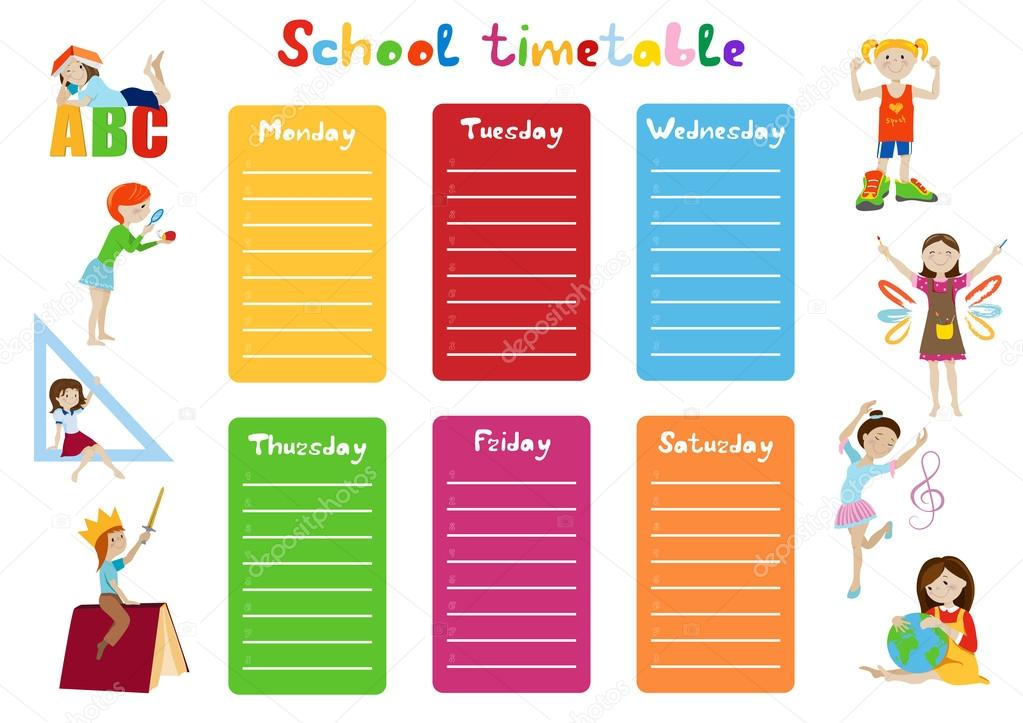School Timetable Kids Weekly Schedule Vector  Stock Vector  O