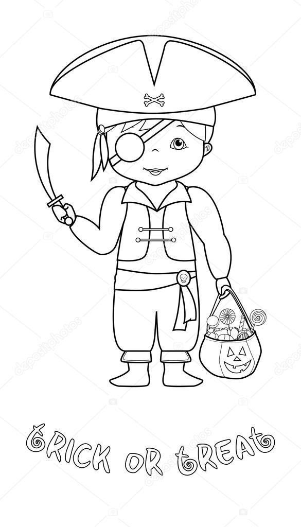 Página para colorear con lindo pirata de Halloween — Archivo ...