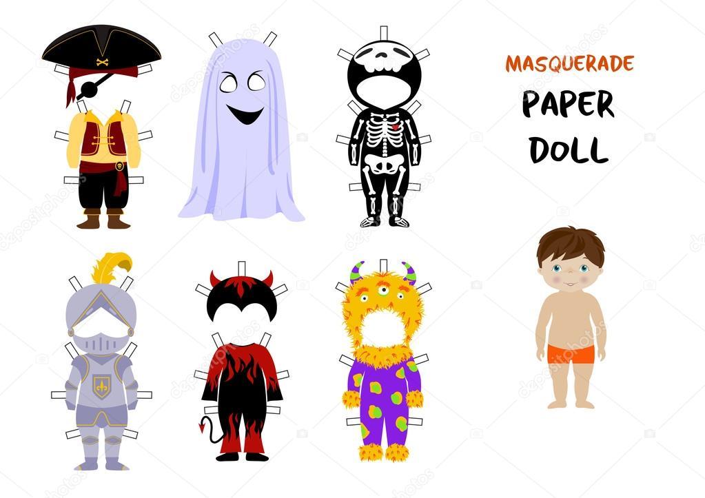 Halloween Papier Puppe Cartoon Vektor — Stockvektor © o.vynokurova ...