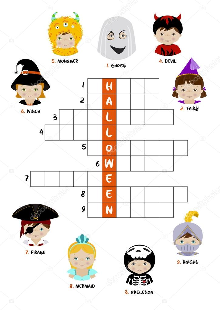 Halloween Crossword Puzzle For Kids Stock Vector