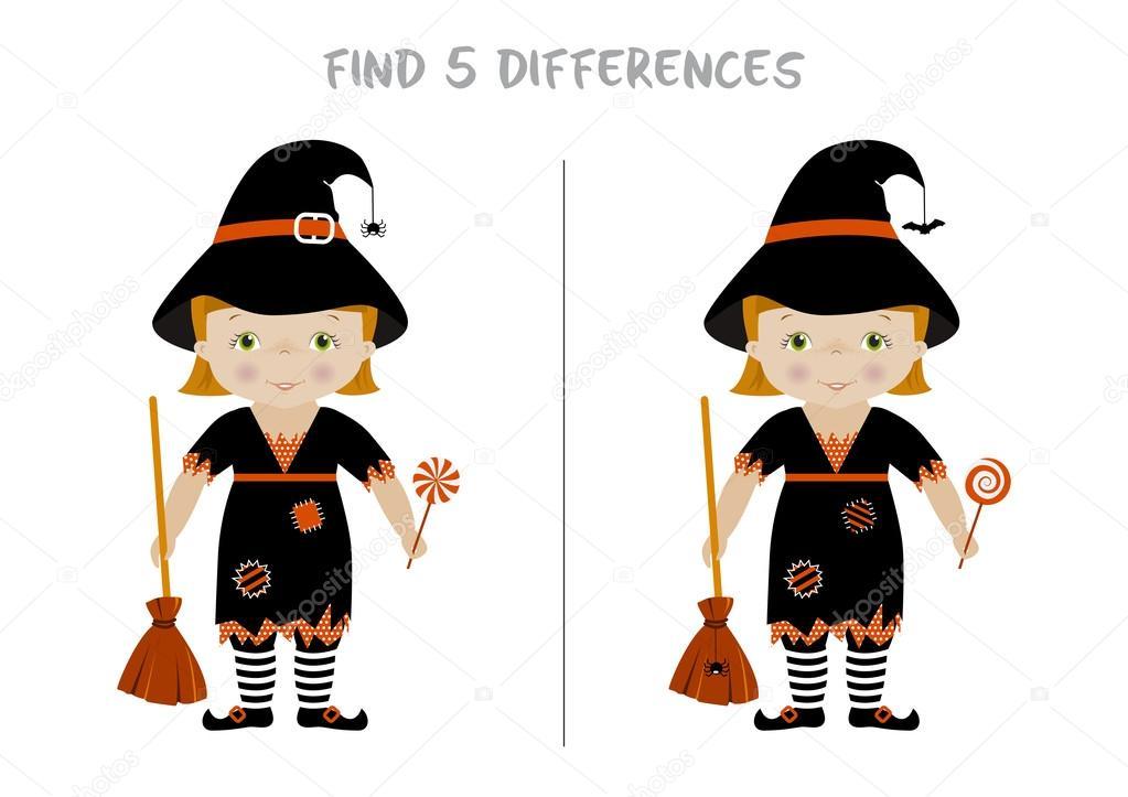 diferencias de halloween encontrar juegos para nios vector de stock