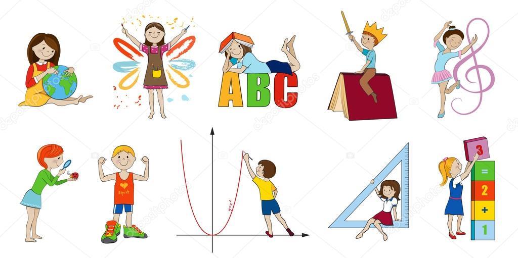 Dibujos Educacion Fisica Animados Las Asignaturas Vector