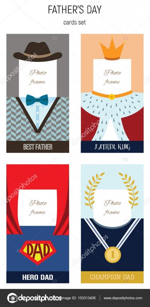 Happy Fathers Day, beste Papa Vektor Foto Frame-set — Stockvektor ...