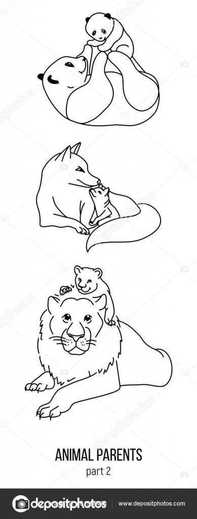 Anne Baba Ve çocuk Sayfa Bölüm 2 Boyama Hayvanlar Vektör Stok