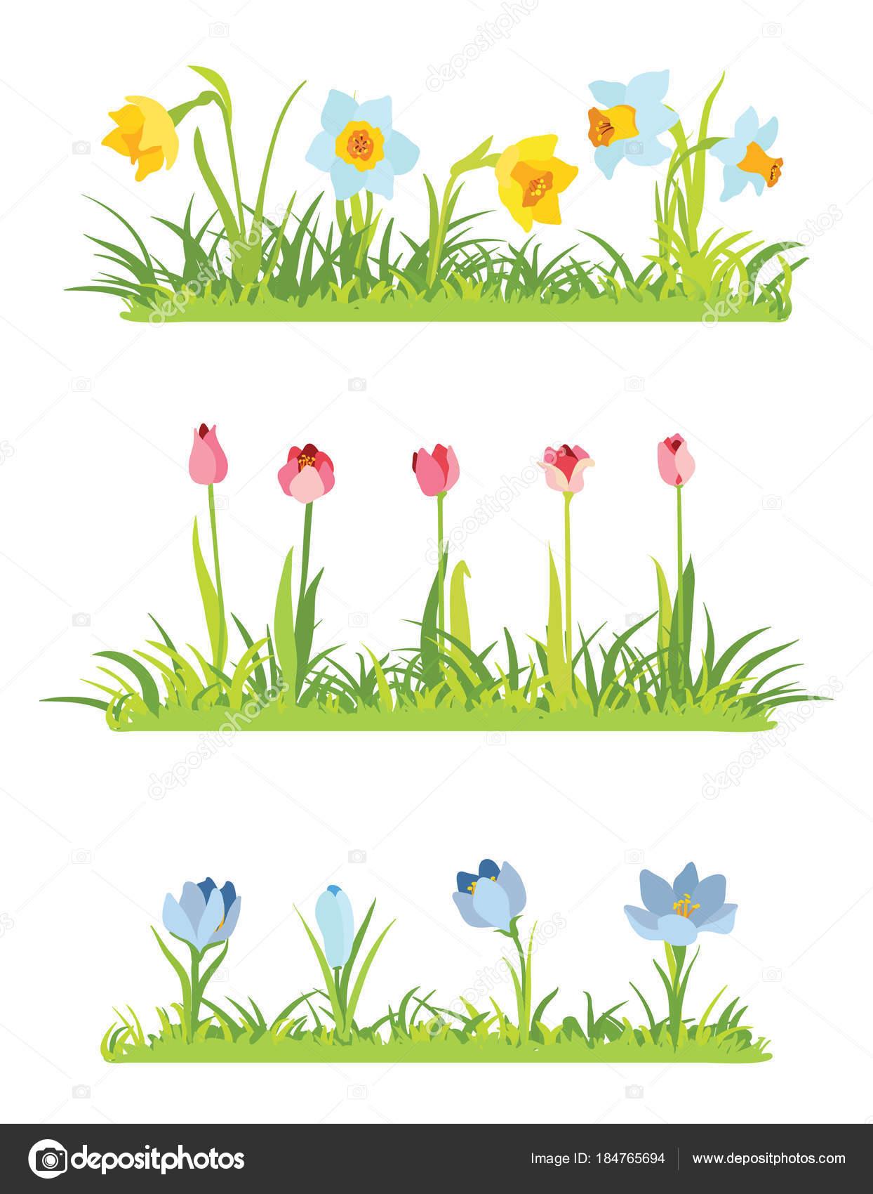 イースターのための一連の春の 4 月花ボーダー ストックベクター O