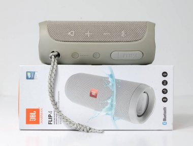 london england, 04/05/2020 JBL Flip 4 Waterproof Portable Bluetooth Speaker, isolated in a white studio setting. JBL leading in quality portable audio and music speakers.