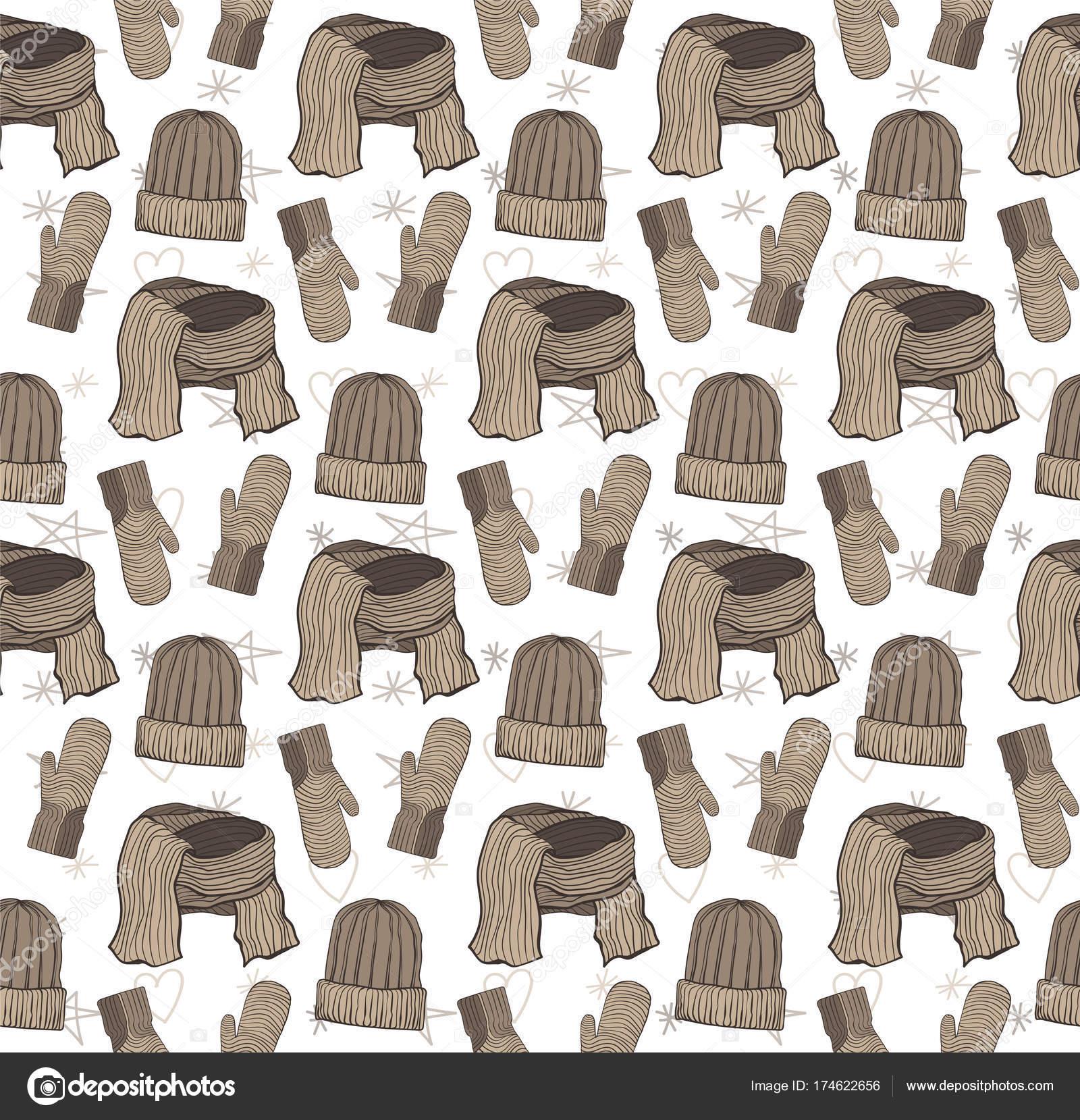 Patrón sin fisuras de sombreros, guantes y una bufanda. Gama marrón ...