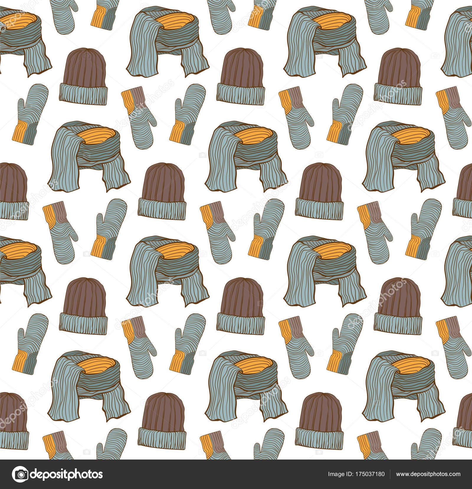 Patrón sin fisuras de sombreros, guantes y una bufanda — Vector de ...