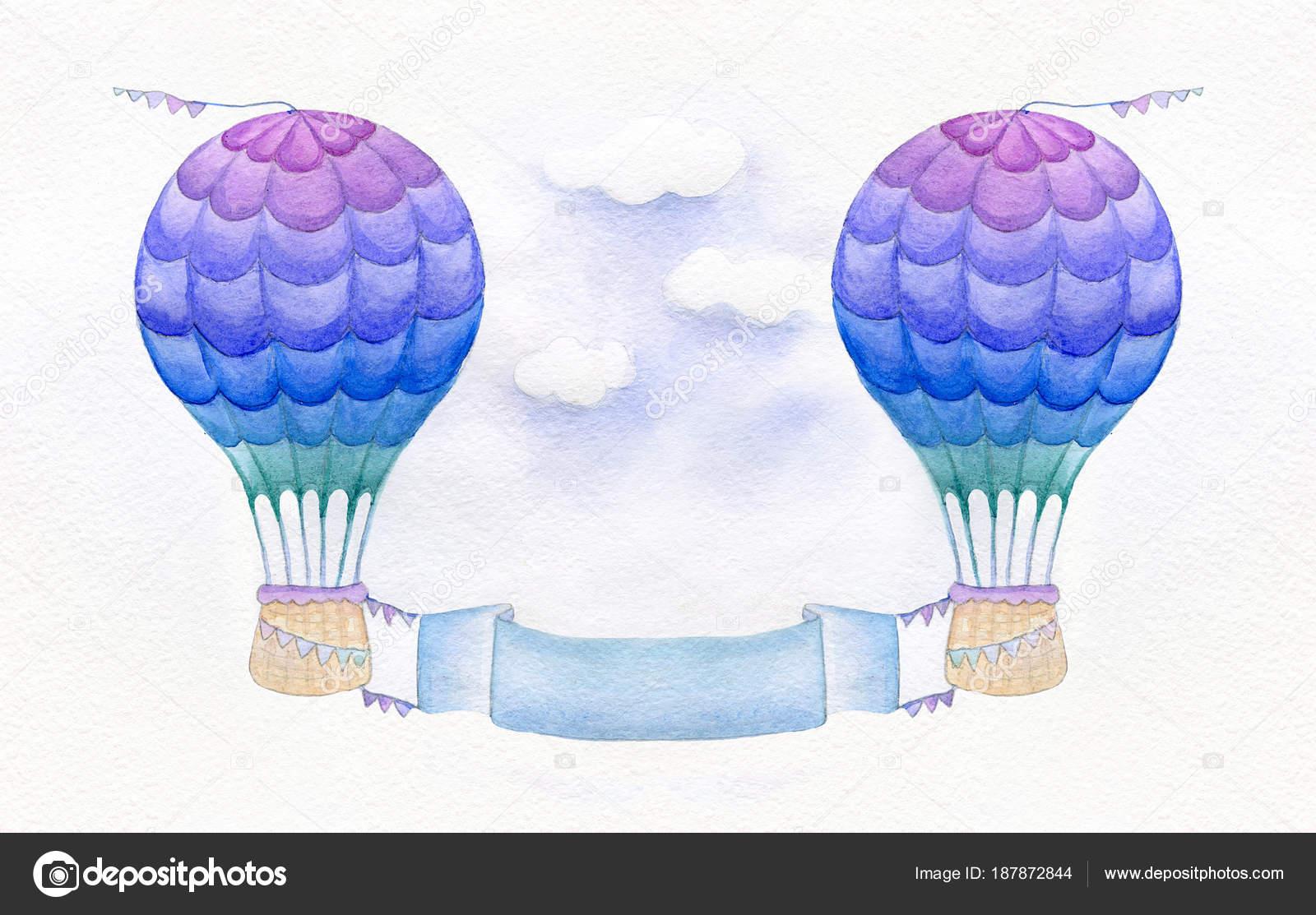Colorido Globo Aerostático Aislado Sobre Fondo Blanco