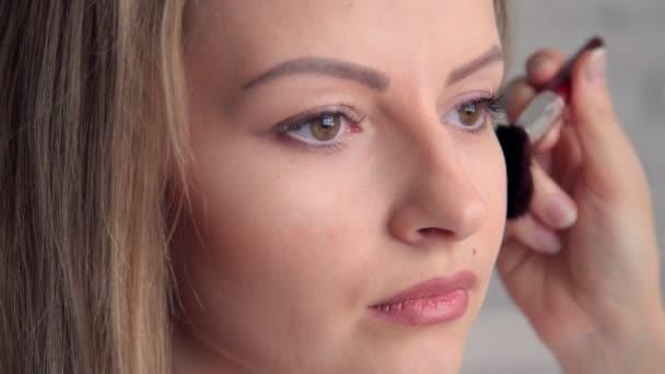 Eye makeup woman applying eyeshadow powder. Beautiful woman face. Perfect makeup. Beauty fashion. Eyelashes. Cosmetic Eyeshadow. close up.