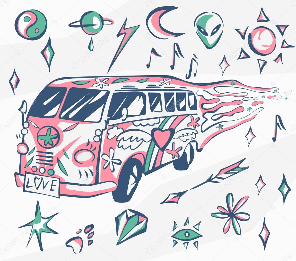 Love bus vector poster hippie car mini van with different love bus vector poster hippie car mini van with different symbols retro colors biocorpaavc Images