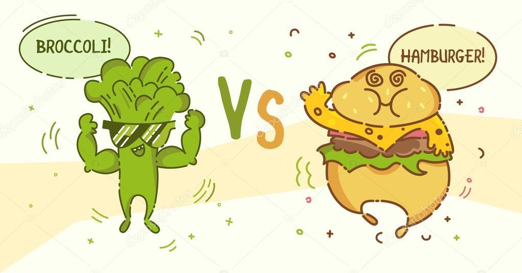 Junk Food Vs Healthy Food Cartoon