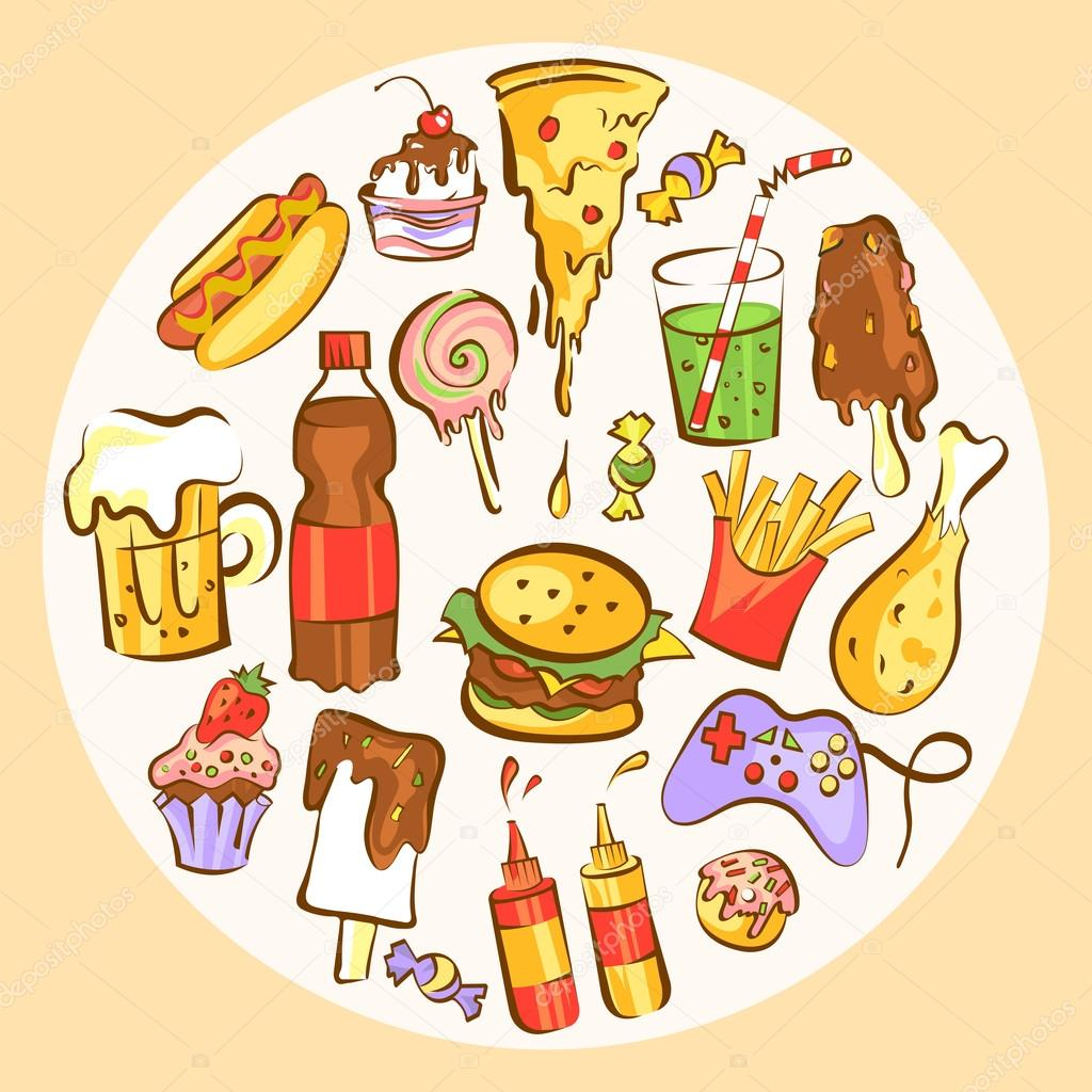 Set of fast food dishes  Junk food in circle composition  Vector
