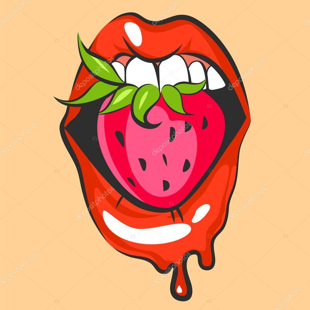 Cartoon sexy lips