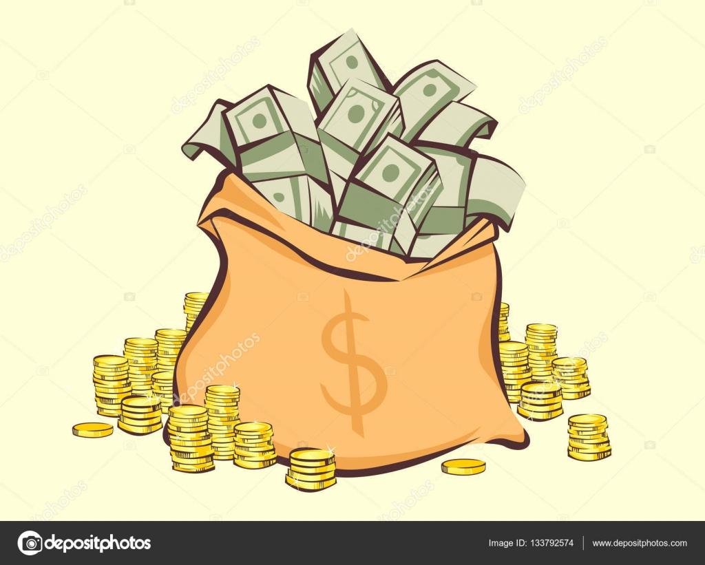 Saco De Dinheiro Com Cachos De Dólares E Moedas Pilhas Ao