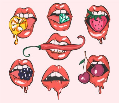 Set of sexy pop art lips, close up view, cartoon girls mouths, vector illustrations