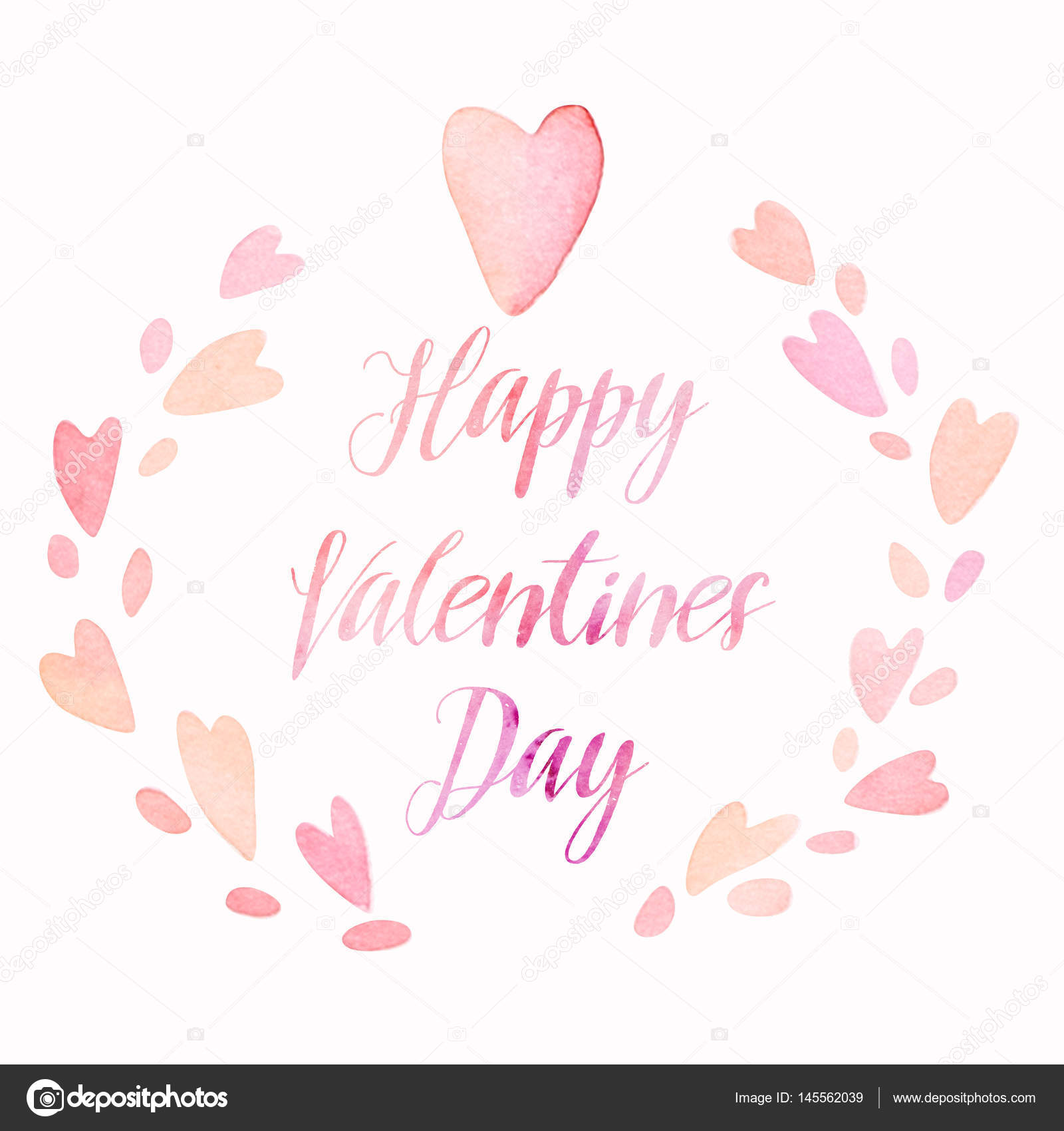 Valentines Day Cute Kawaii Watercolor Hearts Wreath With Lettering, Holiday  Card Layout U2014 Stock Photo