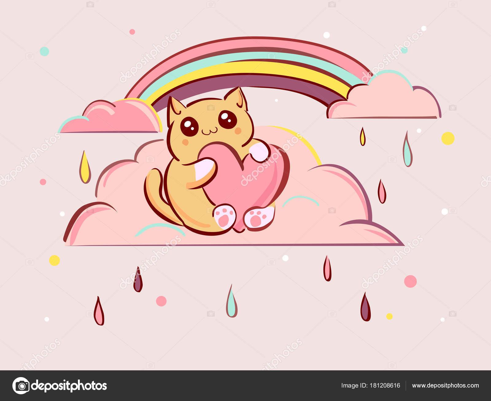 Dessin de chat mignon kawaii dessin de manga - Dessin de chat kawaii ...