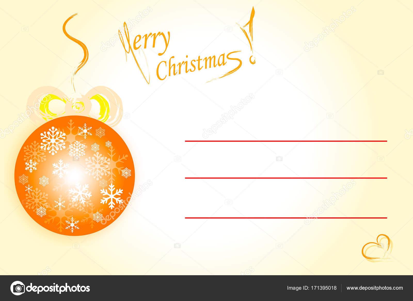 Frohe Weihnachten Vektor - orange Karte mit leere Zeilen zu ...