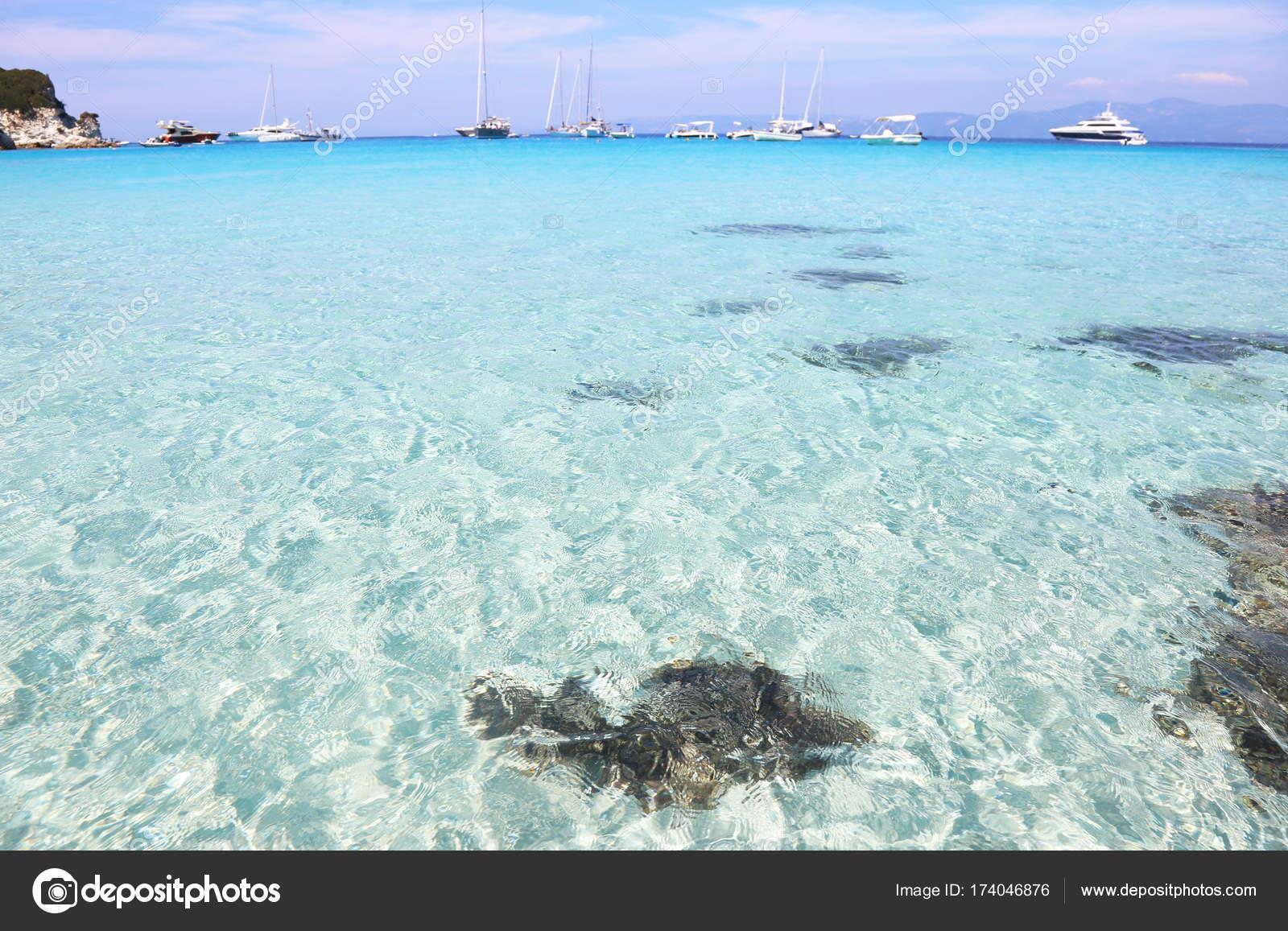 Der Schöne Strand Voutoumi Von Antipaxos Insel Griechenland