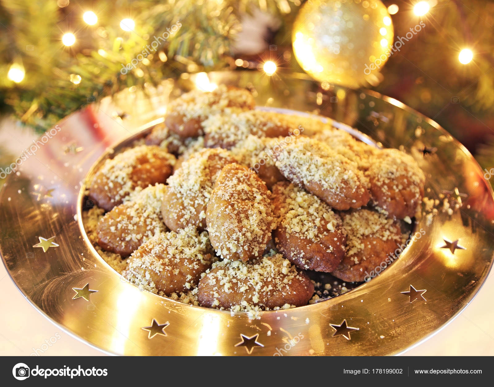 Greek Melomakarona Traditional Christmas Cookies Honey Nuts Stock
