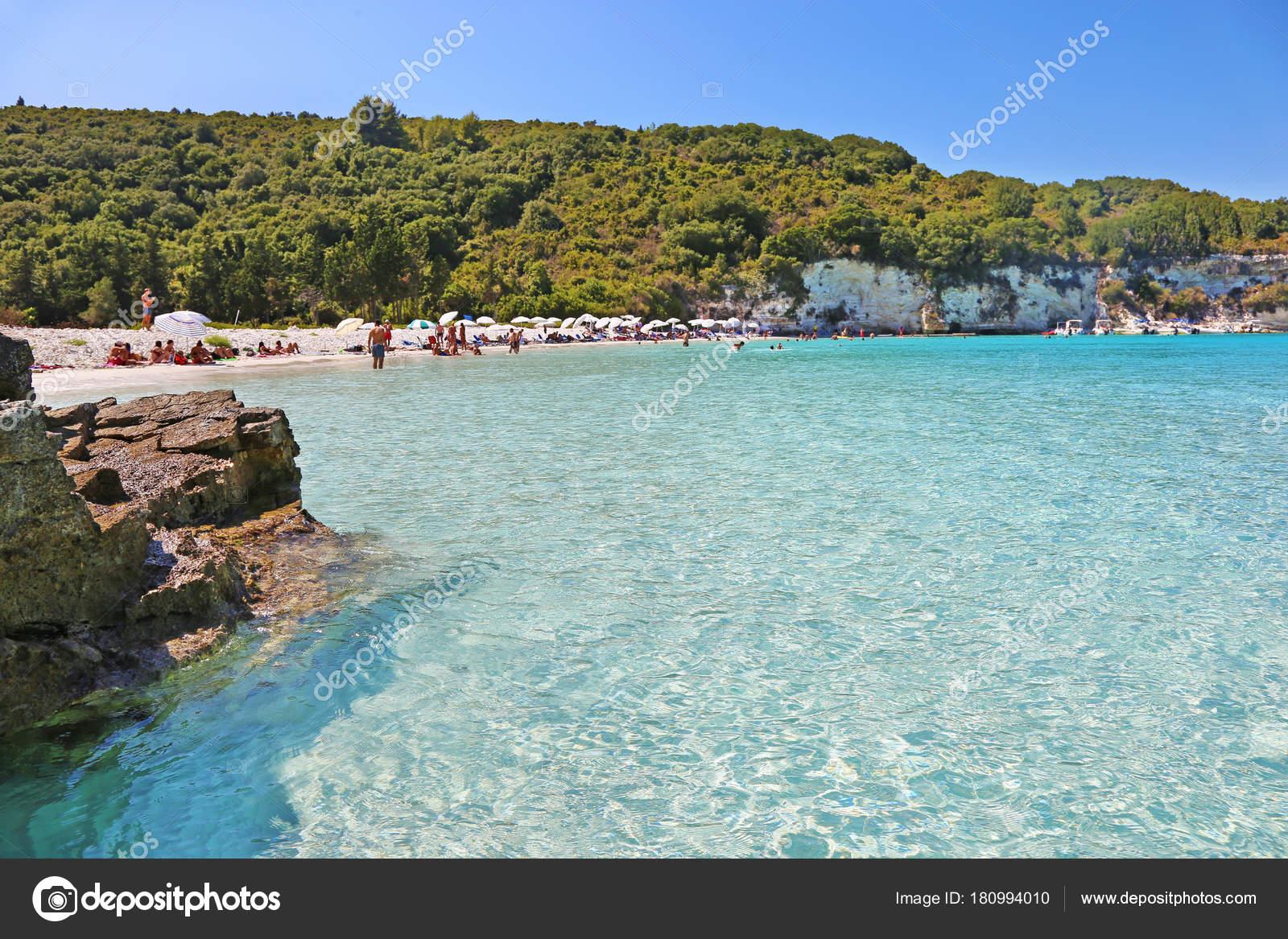 Antipaxos Griechenland August 2017 Landschaft Der Voutoumi Strand