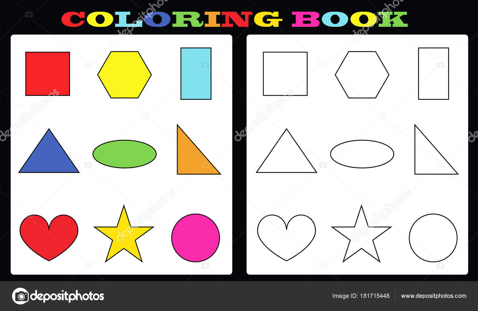 Coloring Book Colorful Shapes Empty Shapes Painting Kids — Stock ...