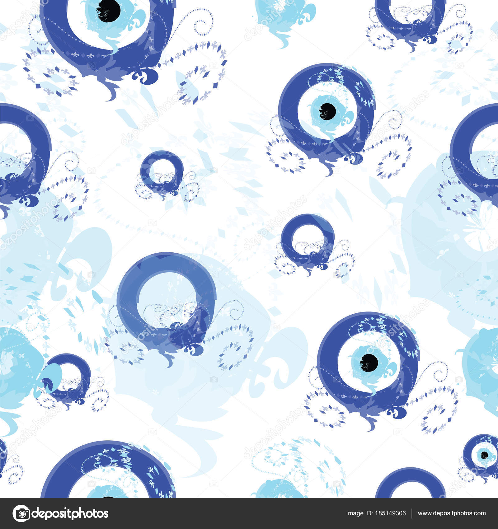 Seamless Tileable Pattern With Blue Greek Evil Eye Stock Vector