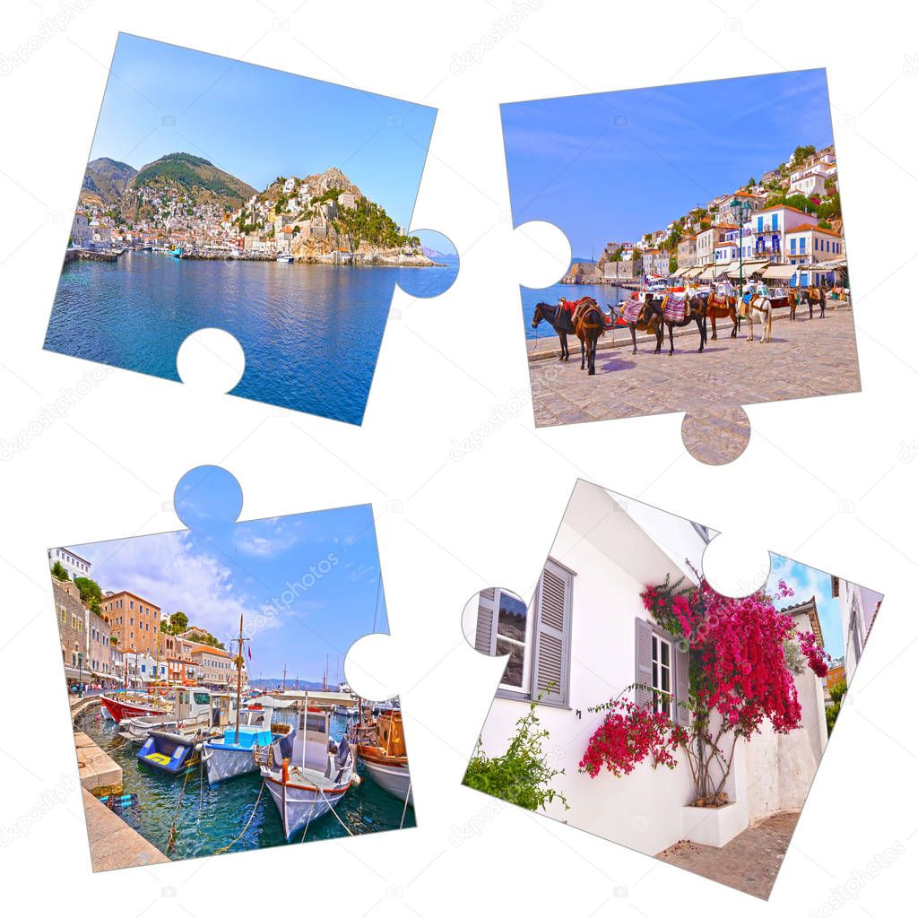 photo collage with Hydra island photos Greece - Saronic gulf Greece