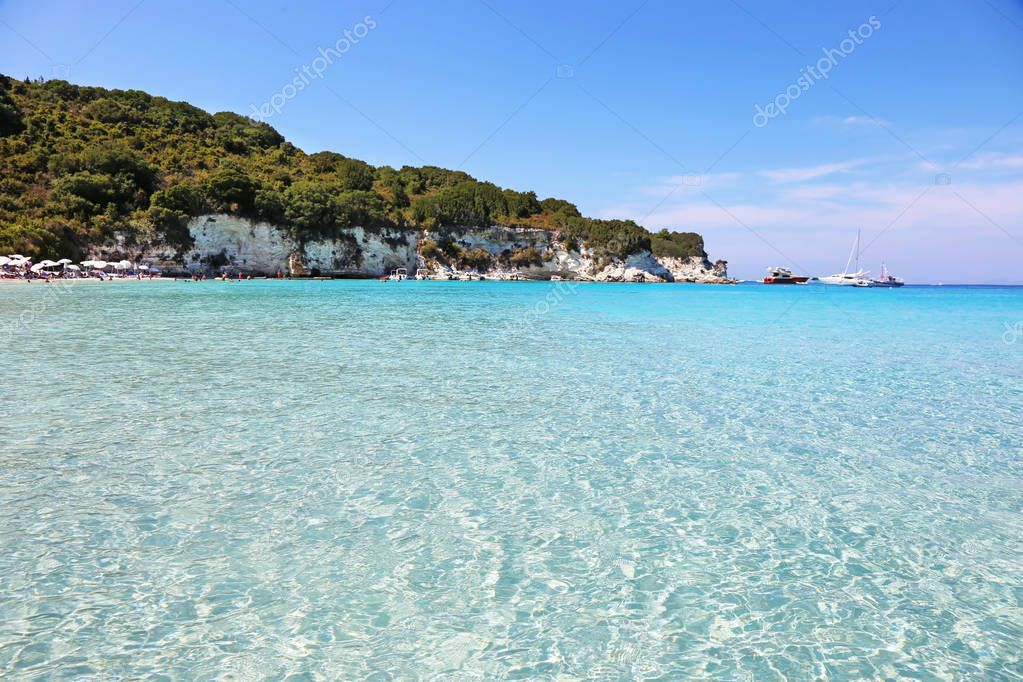 ANTIPAXOS GREECE, AUGUST 30 2017: landscape of Voutoumi beach at Antipaxos island Greece. Editorial use.
